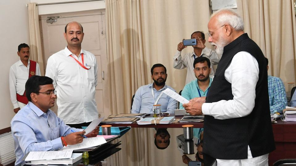 Prime Minister Narendra Modi filing his nomination at the Collectorate office in Varanasi on Friday.