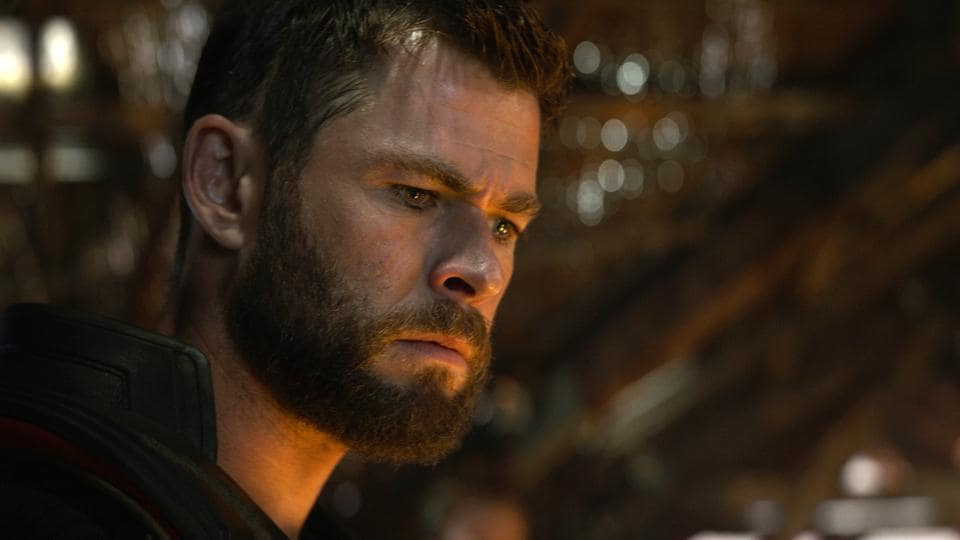 This image released by Disney shows Chris Hemsworth in a scene from Avengers: Endgame.