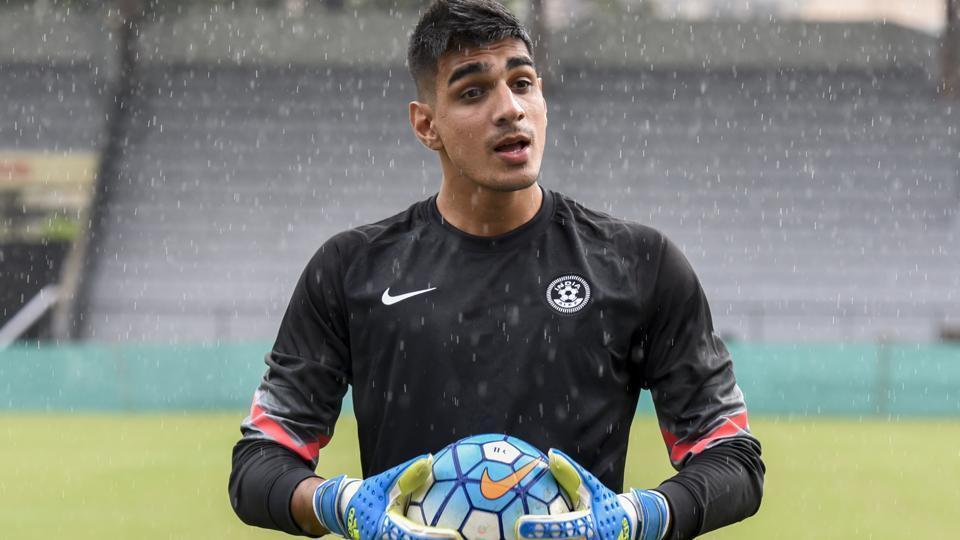Indian football goalkeeper Gurpreet Singh Sandhu during practice session.