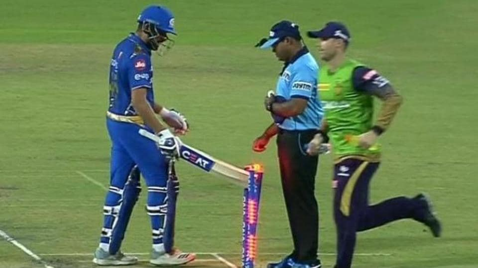 Rohit Sharma was not quite happy with his dismissal during their match against Kolkata Knight Riders.