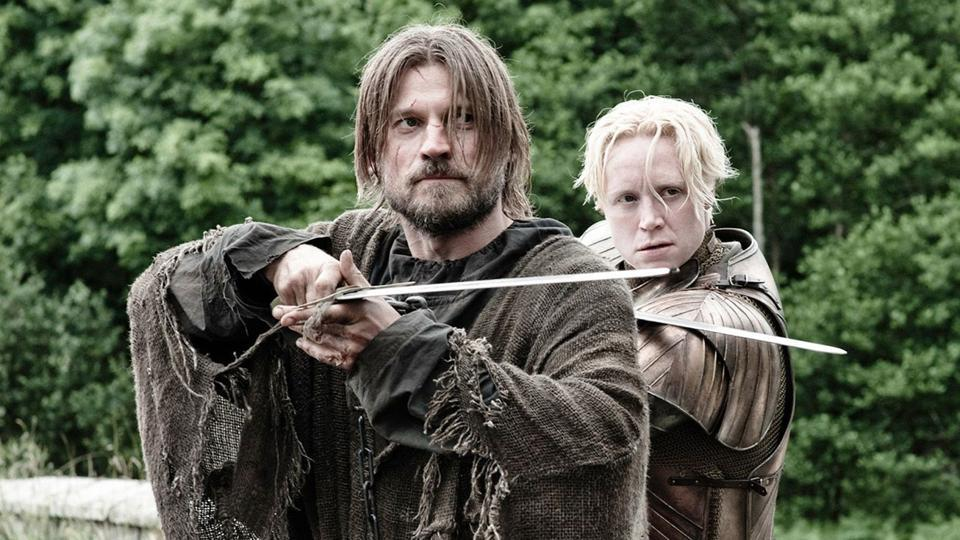 Jaime Lannister and Brienne of Tarth in a still from Game of Thrones.