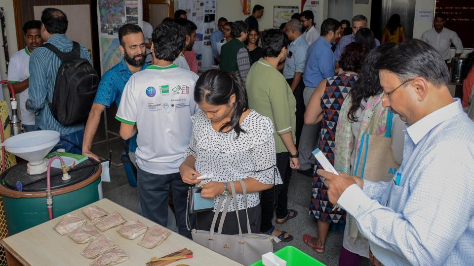People seen attending the exhibition at the national conference on urban sustainability at Baner.