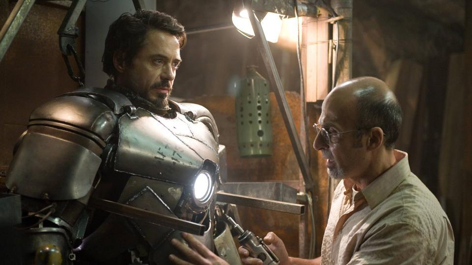 Robert Downey Jr as Tony Stark in a still from the first Iron Man movie.