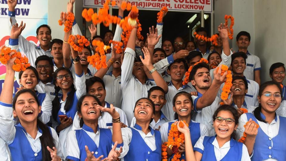 Lucknow Public College Rajajipuram students Celebration after Excellent result in Lucknow , India, on Saturday