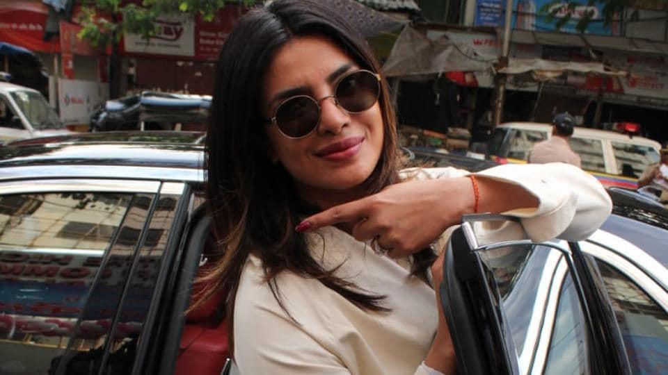 Actor Priyanka Chopra after voting in Mumbai  for LokSabha elections 2019.