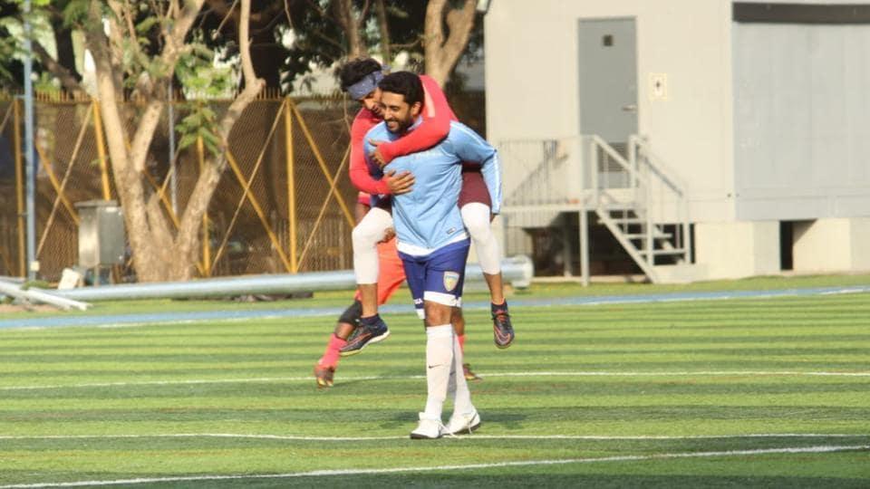 Ranbir Kapoor and Abhishek Bachchan at a soccer match inMumbai on Sunday.