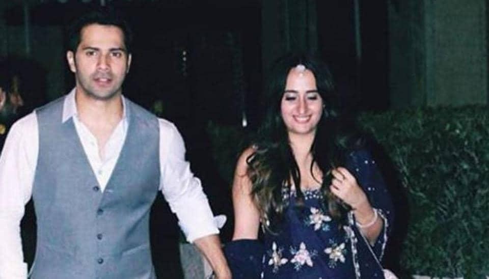 Varun Dhawan with girlfriend Natasha Dalal at a friend's wedding in Mumbai.