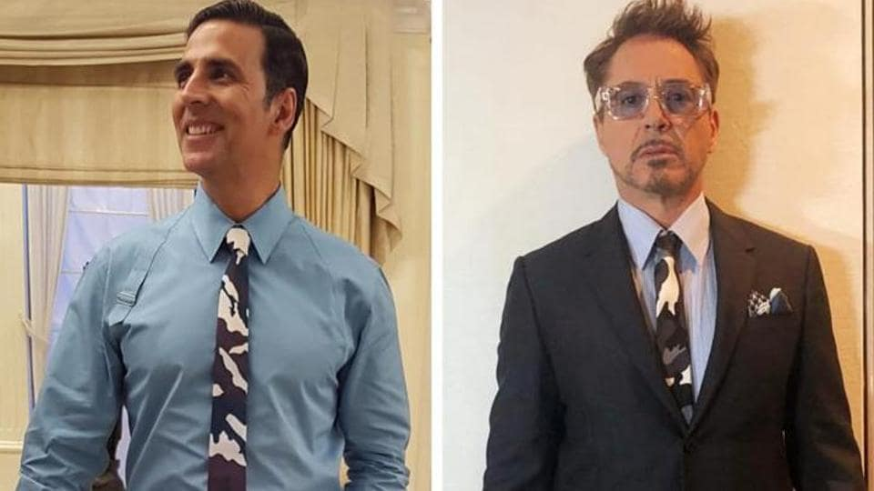 Akshay Kumar and Robert Downey Junior were seen sporting an identical abstract camouflage print Givenchy tie.