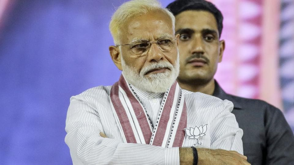PMModi attends a rally in Mumbai, India, on Friday, April 26, 2019.