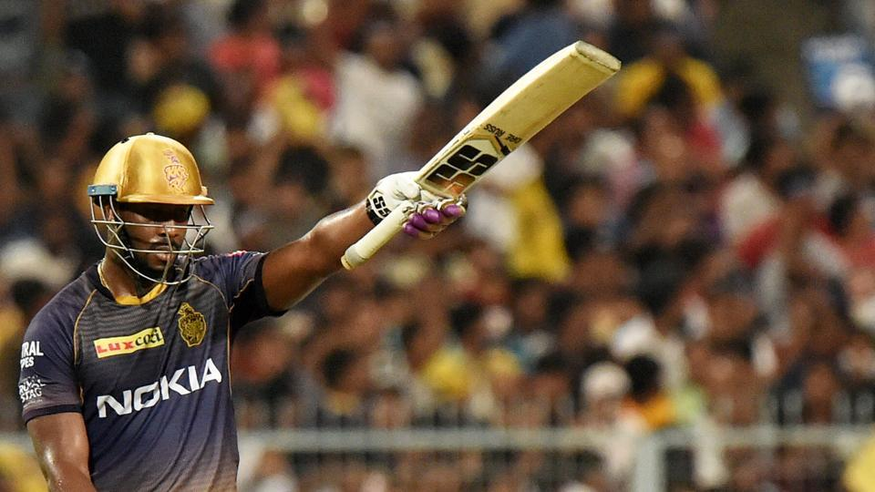 Kolkata: Kolkata Knight Riders (KKR) batsman Andre Russell celebrates his half century during the Indian Premier League 2019 (IPL T20) cricket match between Mumbai Indians(MI) and Kolkata Knight Riders (KKR)