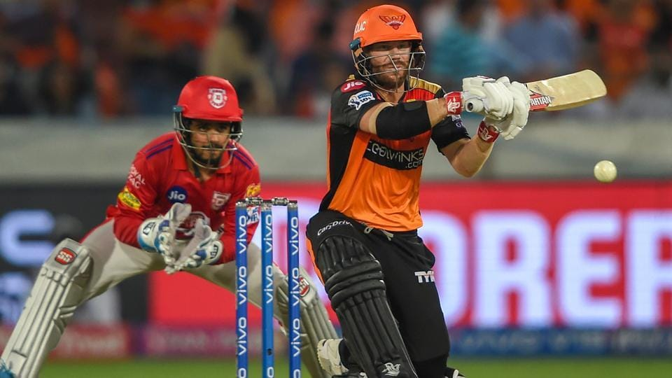 Sunrisers Hyderabad batsman David Warner plays a shot,