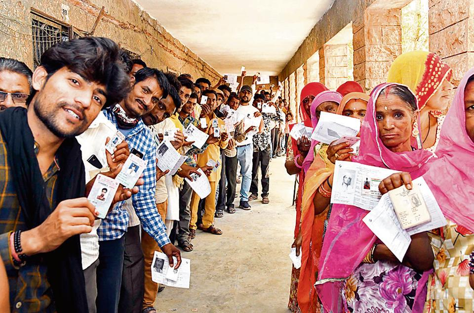 Voters wait in queue in Rajasthan's Jodhpur during phase 4 of LokSabha elections on April 29.