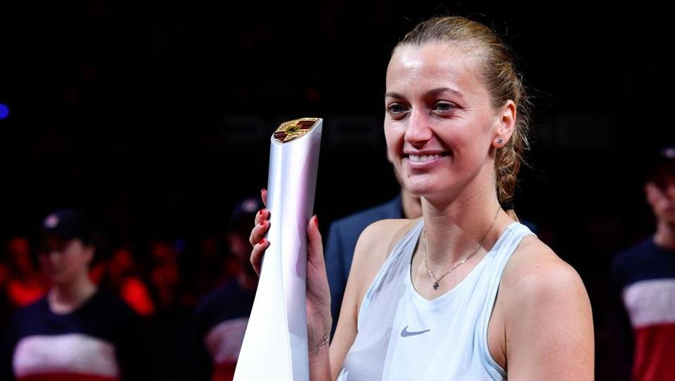Czech Republic's Petra Kvitova poses with the trophy as she celebrates victory over Estonia's Anett Kontaveit in their final match at the WTA Tennis Grand Prix in Stuttgart, southwestern Germany, on April 28, 2019