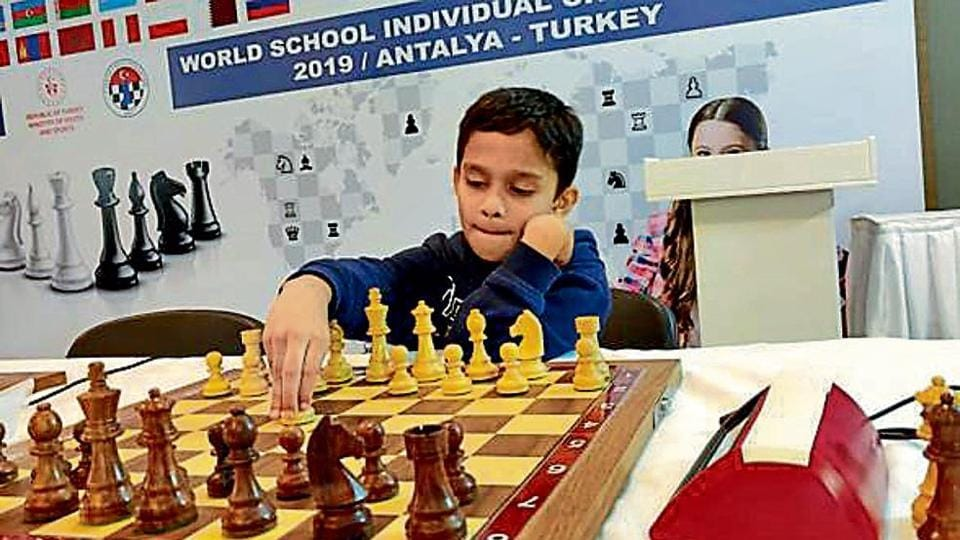 Pune's Aarush Dolas in action in the u-7 category at the World School Chess Championships at Antalya in Turkey.