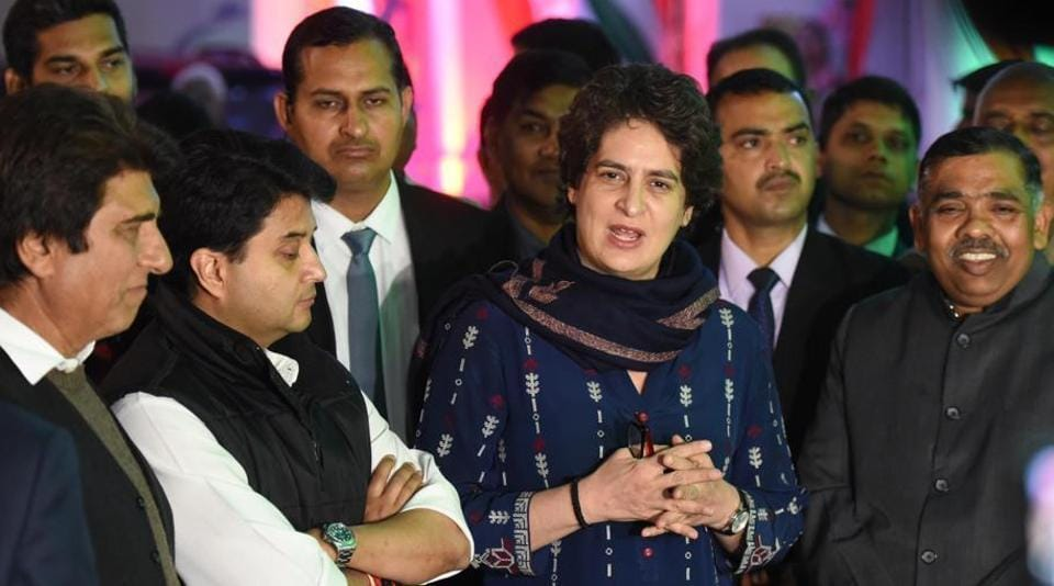 Congress general secretary in-charge of east UP Priyanka Gandhi Vadra, general secretary in-charge of west UP Jyotiraditya Scindia and Mahan Dal leader Keshav Dev Maurya at UPCC office in Lucknow, Uttar Pradesh, on February 13, 2019.