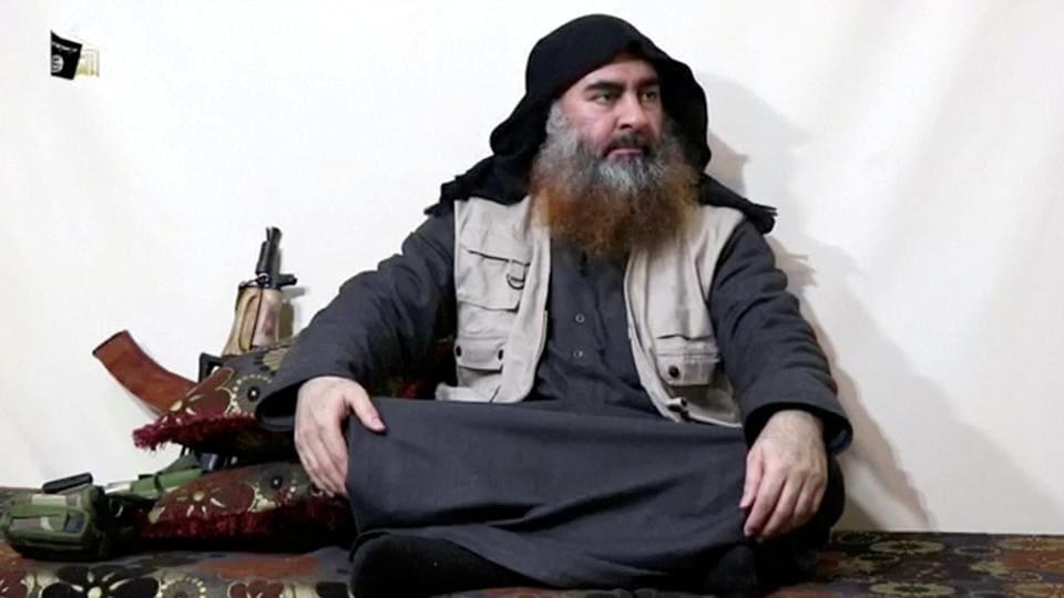 A bearded man with Islamic State leader Abu Bakr al-Baghdadi's appearance speaks in this screen grab taken from video released on April 29, 2019.