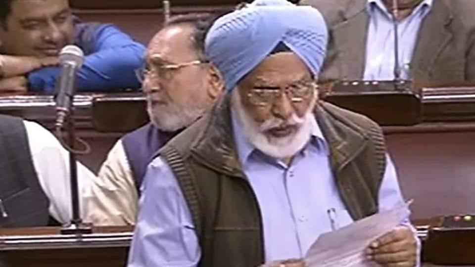 Former Punjab Congress chief and MP Shamsher Singh Dullo speaks in the Rajya Sabha during the Budget Session of Parliament, in New Delhi, Wednesday, Feb. 6, 2019.