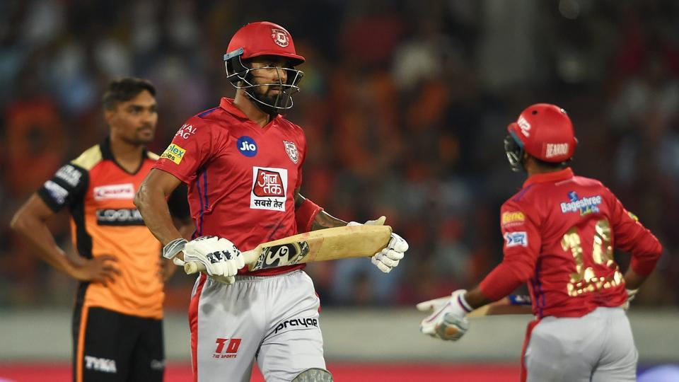 Hyderabad: KXIP players KL Rahul and Mayank Agarwal take run between the wicket during the Indian Premier League 2019 (IPL T20) cricket match between Sunrisers Hyderabad (SRH) and Kings XI Punjab (KXIP)