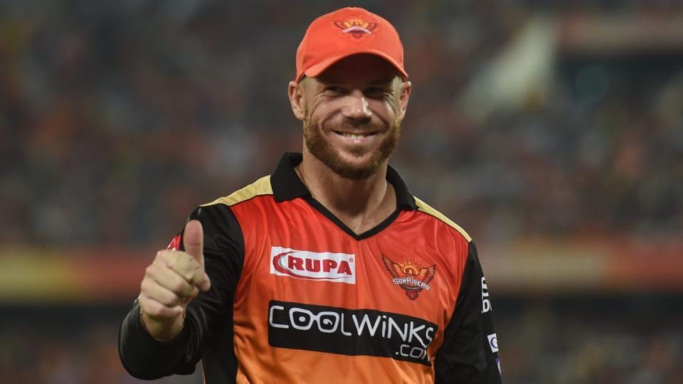 SRH player David Warner after win the match during the Indian Premier League 2019.