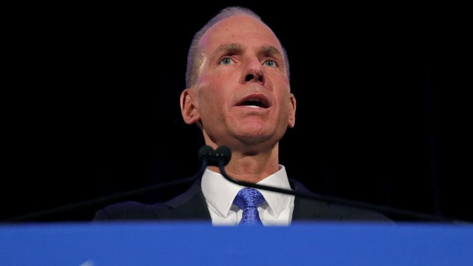 Boeing Co Chief Executive Dennis Muilenburg speaks during a news conference at the annual shareholder meeting in Chicago, Illinois