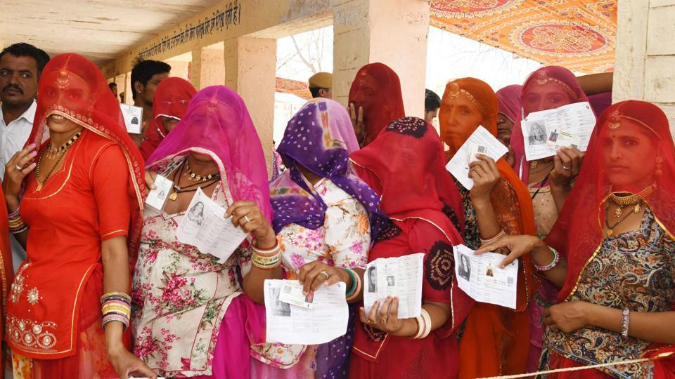 Jodhpur (Rajasthan), April 29 (ANI): The female voters standing in a queue to cast their votes at a polling station during the 4th Phase of lok sabha General Elections 2019 at Jodhpur in Rajasthan on Monday. (ANI Photo)