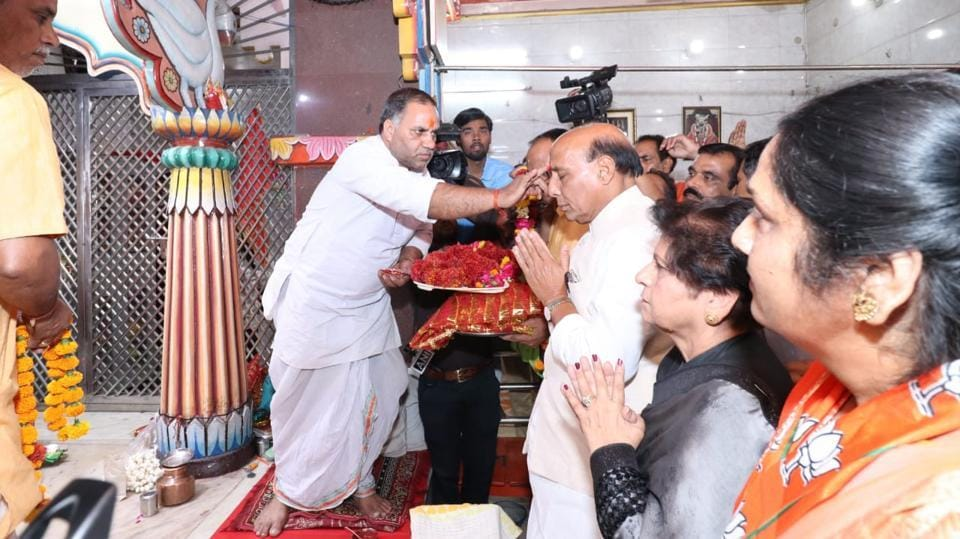 Union home minister Rajnath Singh at a temple in Lucknow.