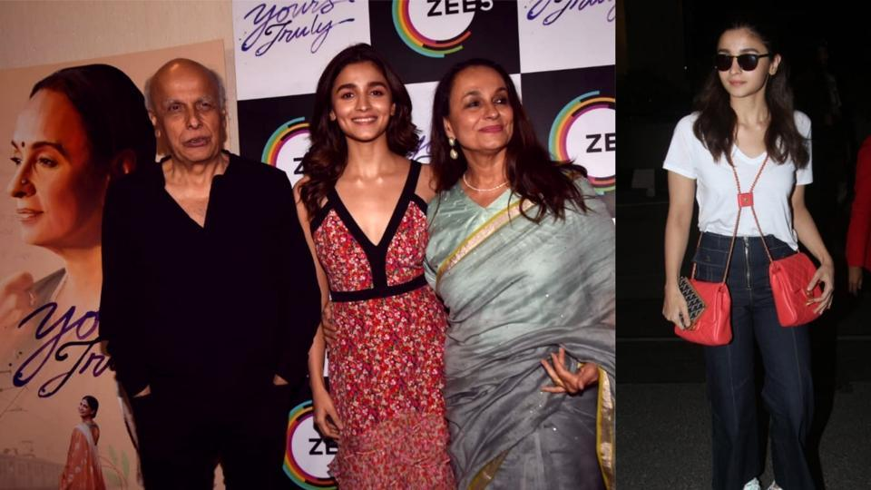 Alia Bhatt joins parents Mahesh Bhatt and Soni Razdan at the film Yours Truly's event in Mumbai.