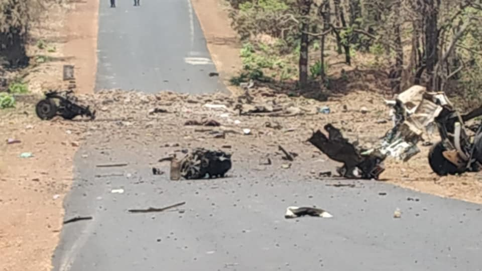Mangled remains of a vehicle blown up by Maoists in Gadchiroli on Wednesday killing 15 policemen and a driver.