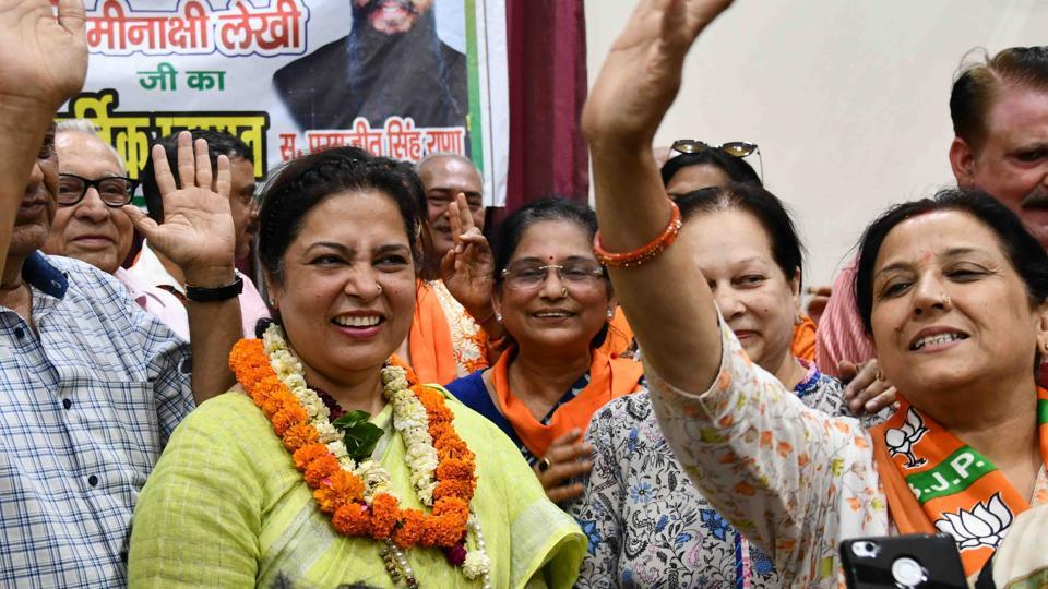 BJP candidate from New Delhi constituency Meenakshi Lekhi during election campaign, at Rajender Nagar, in New Delhi,  on Tuesday, April 30, 2019.