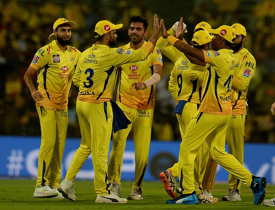 Chennai Super Kings cricketers celebrates a wicket of Delhi Capitals Prithvi Shaw during the 2019 Indian Premier League (IPL) Twenty20 cricket match between Chennai Super Kings and Delhi Capitals at the M.A. Chidambaram Stadium in Chennai. (AFP)