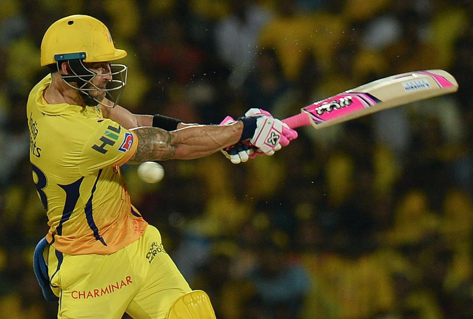 Chennai Super Kings cricketer Faf Du Plessis plays a shot during the 2019 Indian Premier League (IPL) Twenty20 cricket match between Chennai Super Kings and Delhi Capitals at the M.A. Chidambaram Stadium in Chennai. (AFP)