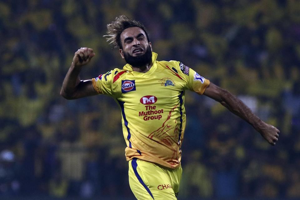 Imran Tahir of Chennai Super Kings celebrates after taking the wicket of Sherfane Ruhterford Delhi Captails during the VIVO IPL T20 cricket match between Chennai Super Kings and Delhi Captails in Chennai. (AP)