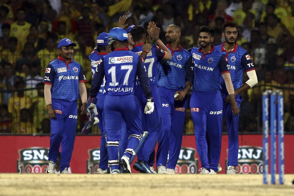 Delhi Captails celebrates after taking the wicket of Suresh Raina Chennai Super Kings during the VIVO IPL T20 cricket match between Chennai Super Kings and Delhi Capitals in Chennai. (AP)
