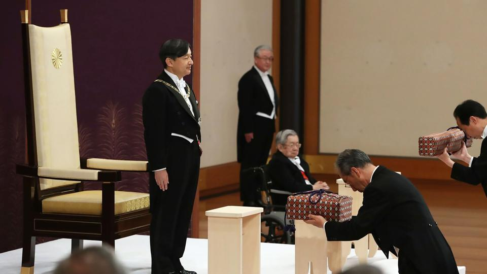 Japan's new Emperor Naruhito formally ascended the Chrysanthemum Throne on Wednesday.