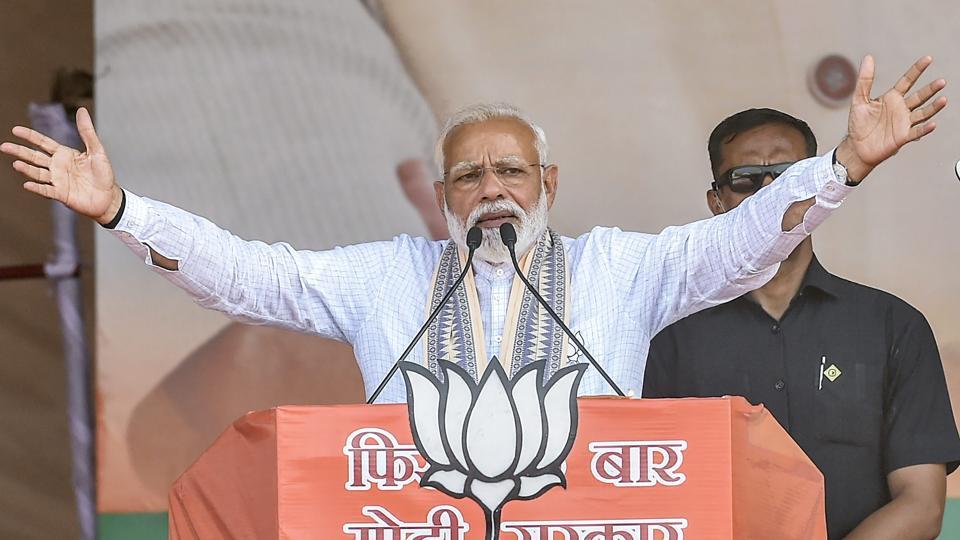 Prime Minister Narendra Modi addresses an election at Haidargarh in Barabanki district on April 30.