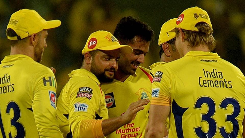 Chennai Super Kings cricketers celebrates a wicket of Delhi Capitals Prithvi Shaw. (AFP)