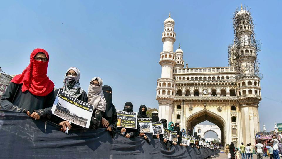 Charminar, the symbol of Hyderabad, has suffered damage as a piece of lime stucco work on one of its minarets fell off following unseasonal rains, officials said on Thursday. A portion of the stucco work detached from the granite slab on the minaret facing Mecca Masjid side and fell off late on Wednesday, sending panic among the people around the monument. (PTI File)
