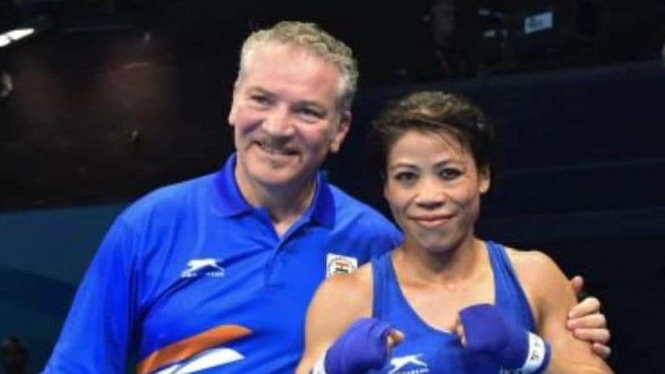 India women's boxing Performance Director Raffaele Bergamasco with MC Mary Kom (File Photo)