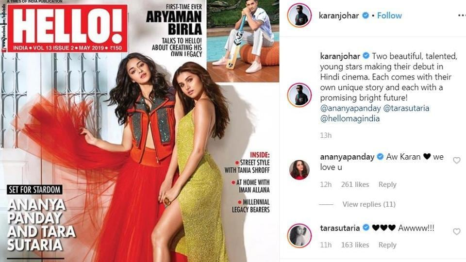 Tara Sutaria and Ananya Panday on the cover of Hello magazine.
