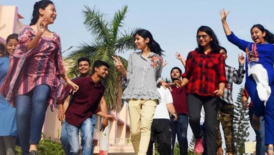Students celebrate after the declaration of Central Board of Secondary Education (CBSE) Class 12th results on May 02, 2019 at School campus in Patna, India.
