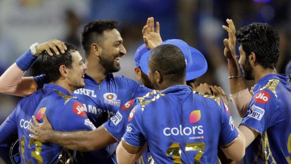 Mumbai Indians Krunal Pandya celebrates after Kane Williamson's wicket during the VIVO IPL T20 cricket match between Mumbai Indians and Sunrisers Hyderabad in Mumbai, India, Thursday, May 2, 2019.
