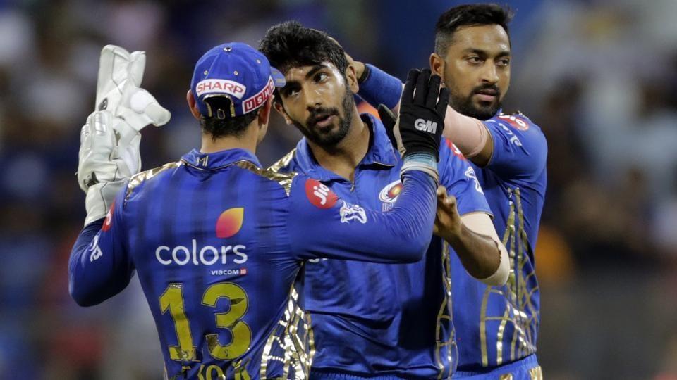 Mumbai Indians Jasprit Bumrah celebrates a wicket with his teammates. (AP)