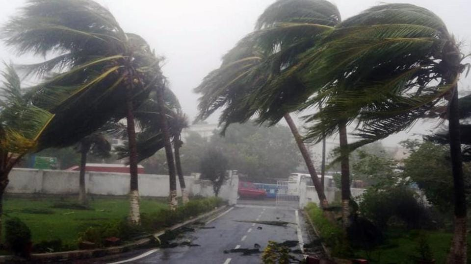 Strong winds and heavy rainfall hit Puri as Cyclone Fani made landfall in the district on Friday.
