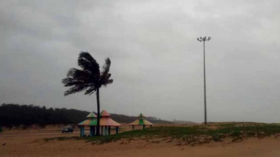 iew from Paradip beach as Cyclone Fani  makes landfall in Puri district on Friday.