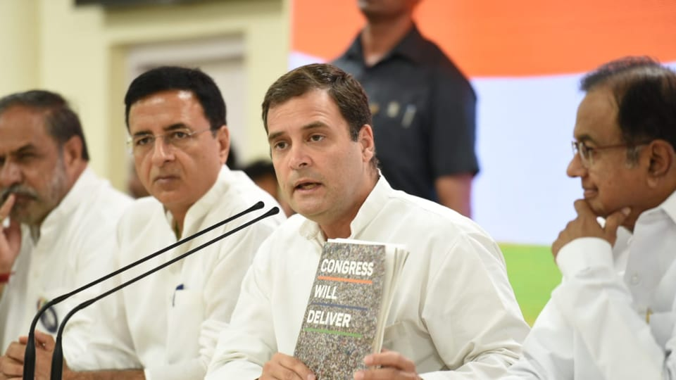 Congress president Rahul Gandhi at a press conference at AICC headquarters in New Delhi on Saturday.
