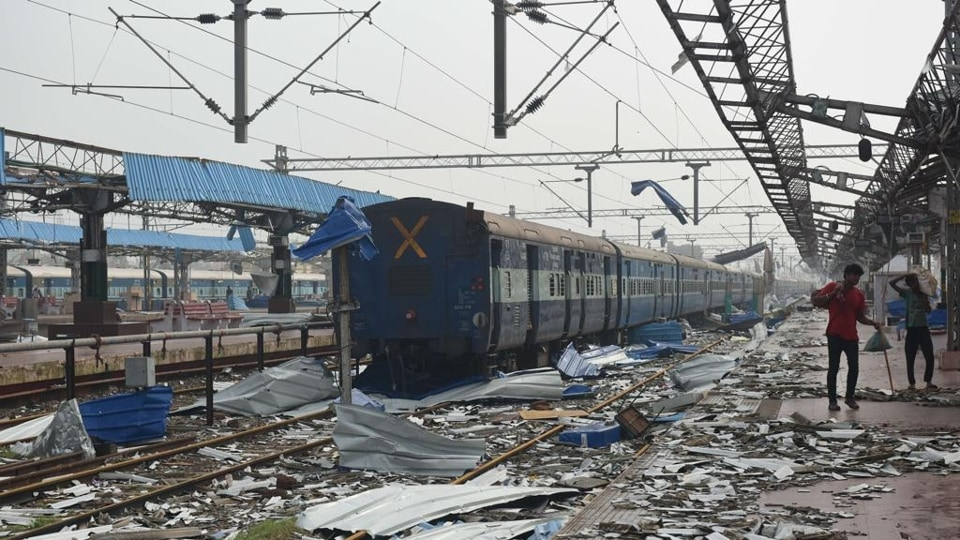 The scene at the Puri railway station in Odisha after Cyclone Fani raged through the area.
