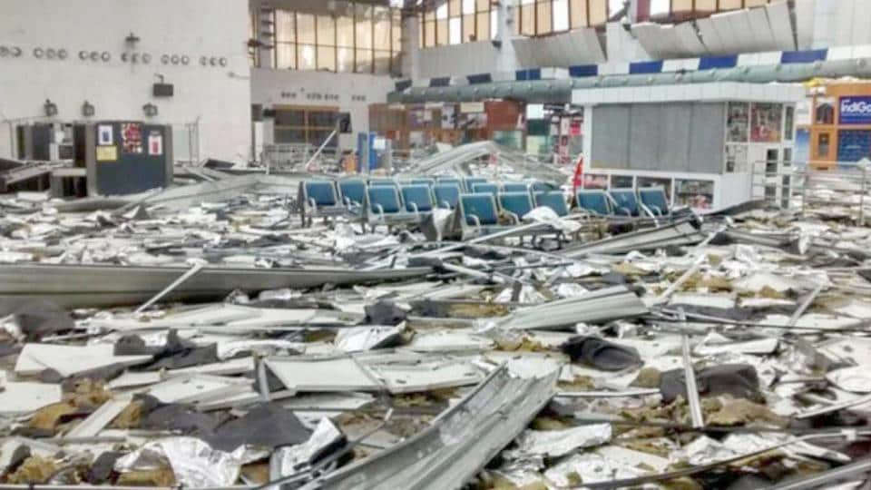 Inside view of Bhubaneshwar Airport after it was hit by the cyclone Fani in Bhubaneshwar on Saturday. Cyclone Fani on Friday made landfall in Puri with a wind speed of over 200 Km/hr. Some houses were completely destroyed in Puri, parts of Khurda, and other districts. The cyclone tore apart critical infrastructure, especially power, telecom and water supply and lakhs of trees were uprooted blocking roads, breaking homes and damaging infrastructure. (ANI )