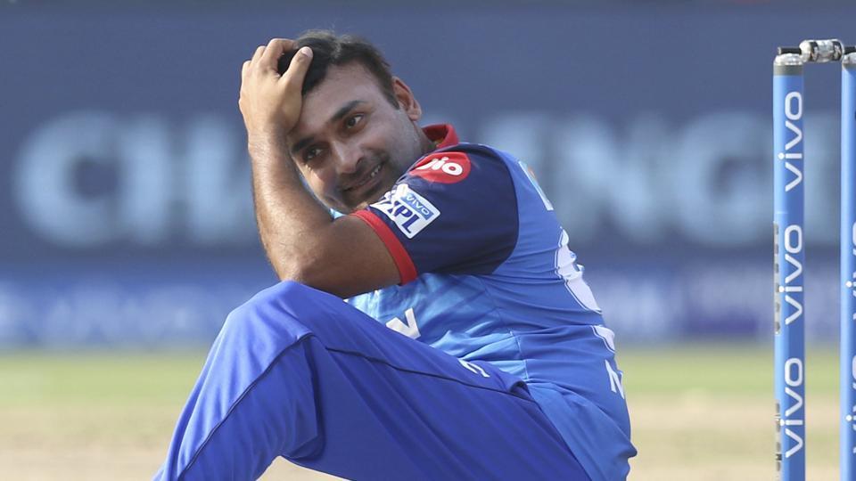 Amit Mishra of Delhi Capitals reacts after missing a possible hat trick.