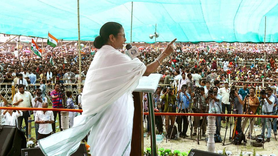 West Bengal Chief Minister and Trinamool Congress supremo Mamata Banerjee addressing an election rally in  Barrackpore .