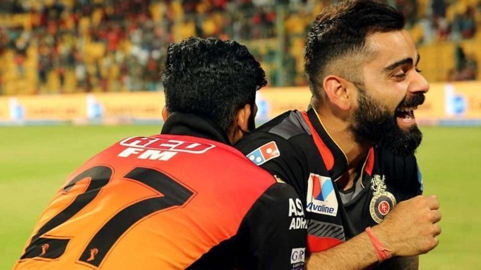 Virat Kohli (R)and Khaleel Ahmed after their Indian Premier League (IPL) encounter.